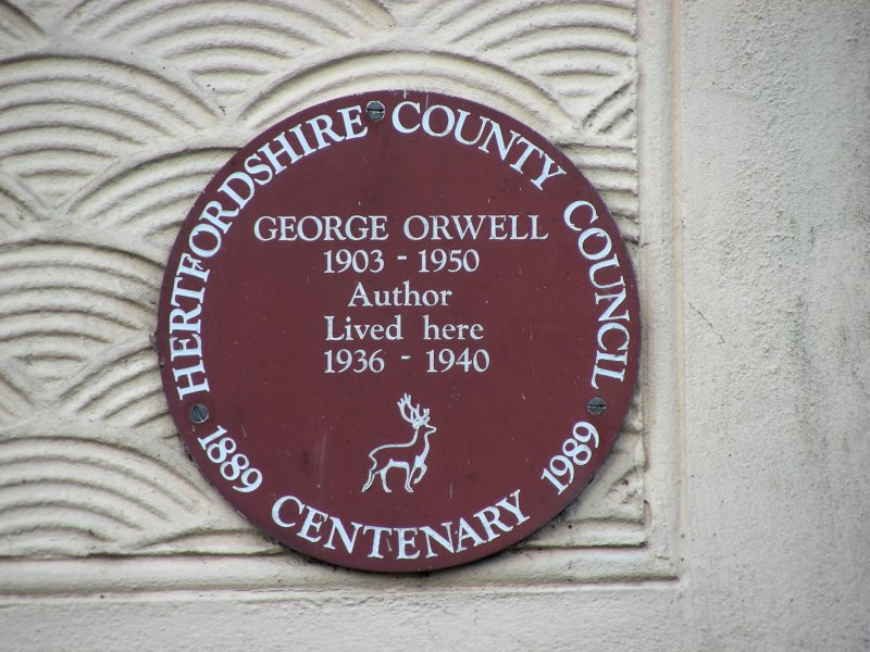The wall plaque on what was once the home of George Orwell in Wallington.