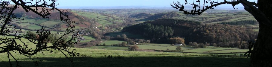 View below Cefn-hir towards Gladestry (centre) and Hergest Ridge (left).